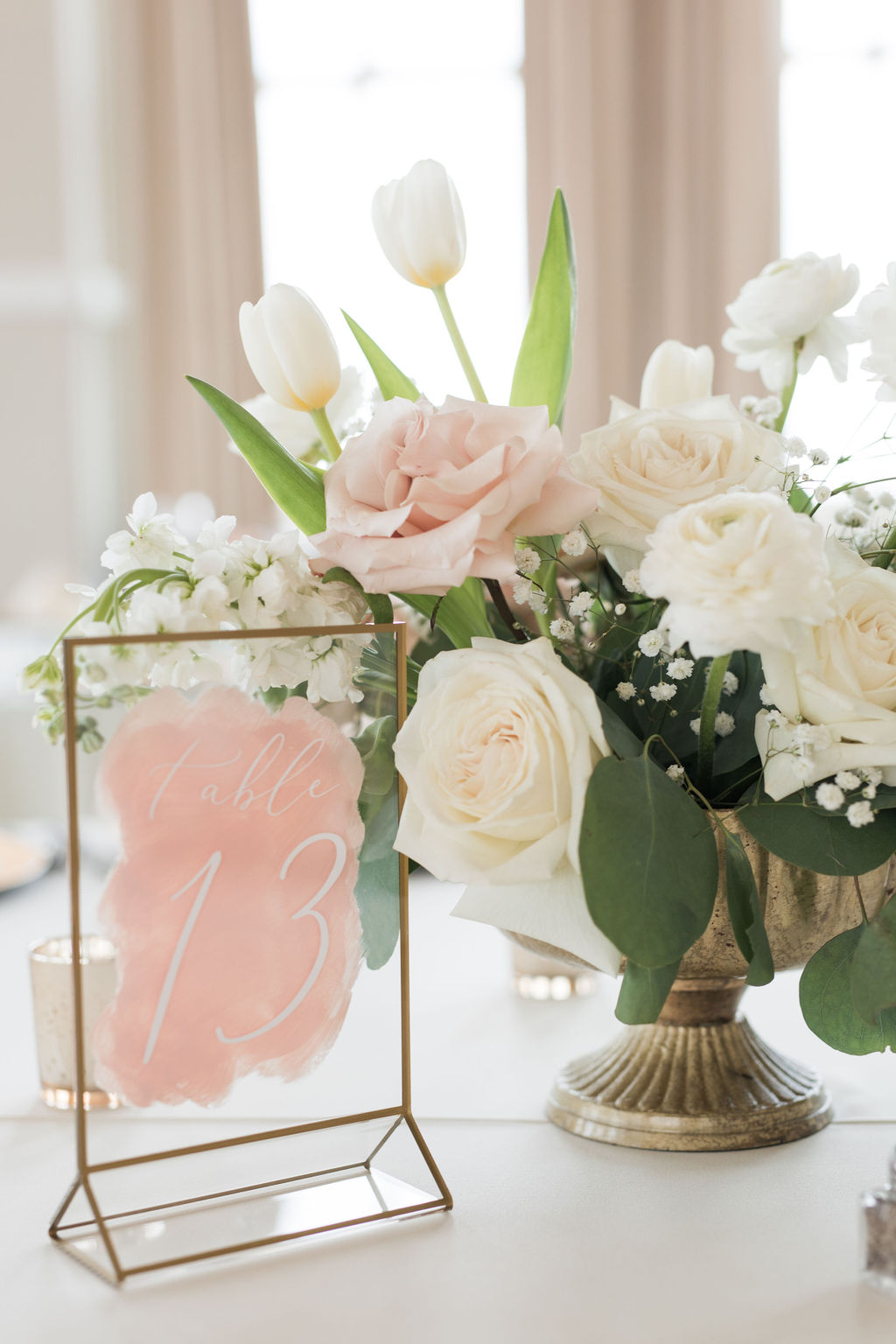 Pink wedding table numbers and centerpieces: Dusty Blue and Blush Wedding at The Room on Main featured on Alexa Kay Events!