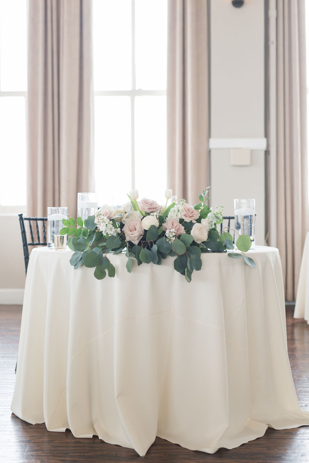 Wedding sweetheart table DFW wedding: Dusty Blue and Blush Wedding at The Room on Main featured on Alexa Kay Events!