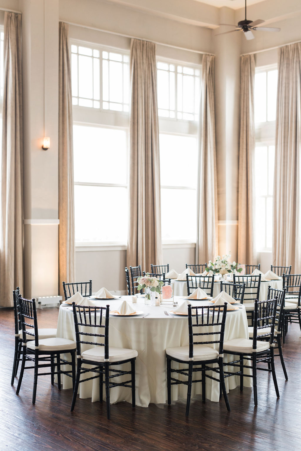 Wedding reception decor: Dusty Blue and Blush Wedding at The Room on Main featured on Alexa Kay Events!