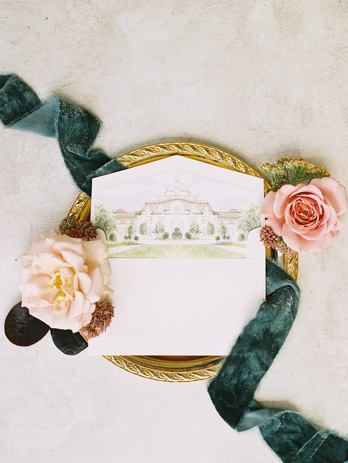 Custom wedding envelope liner: Whimsical garden elegance styled shoot featured on Alexa Kay Events