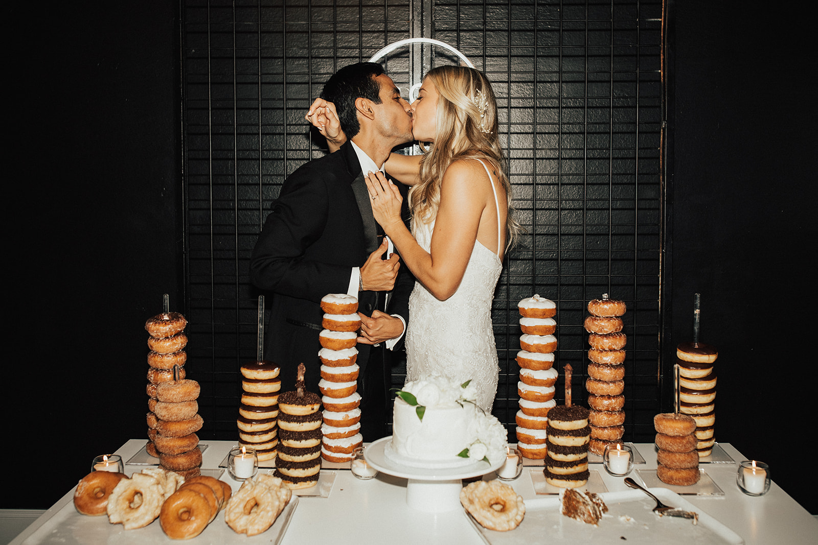 Wedding Cake and Donut Dessert Display