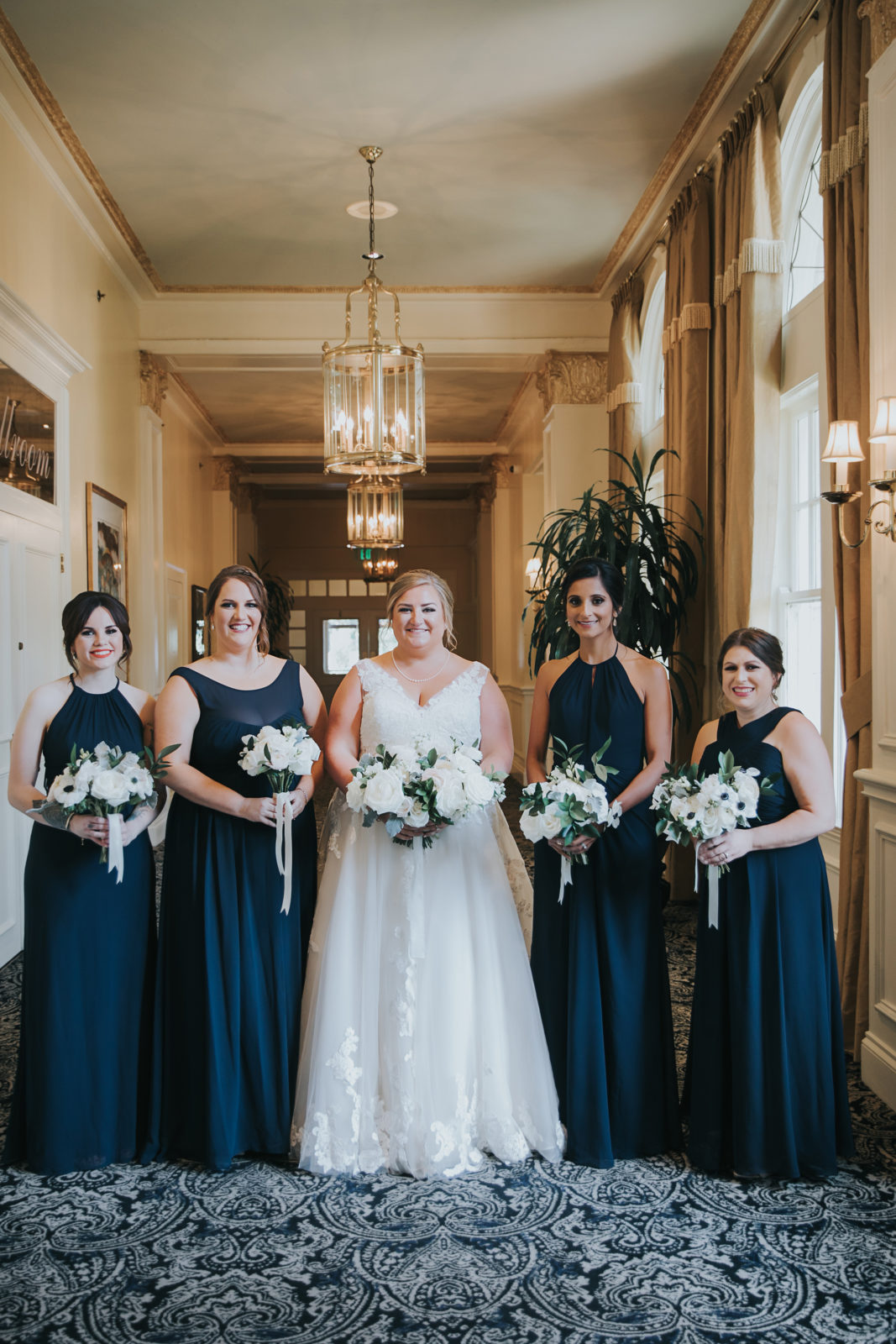 Blue Bridesmaid Dresses: Timeless Greenery and Gold Wedding at The Filter Building