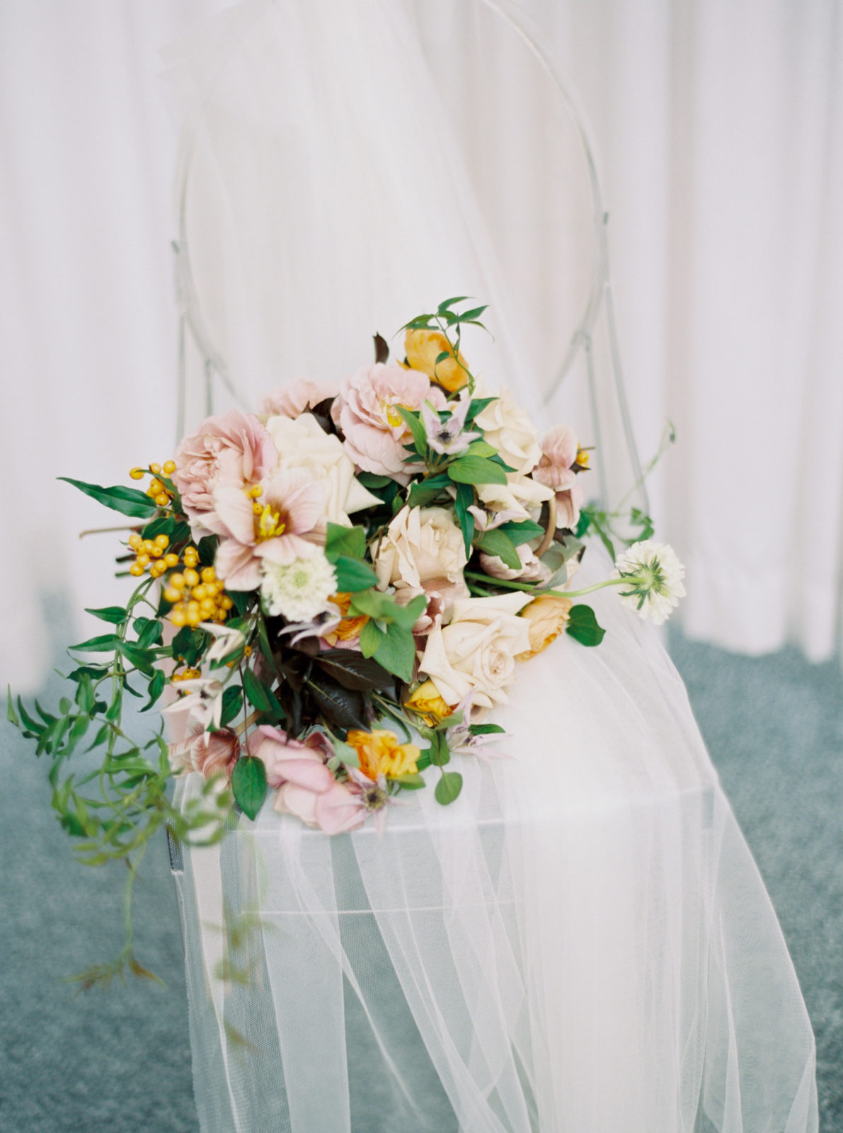 Alba Dahlia Floral Wedding Bouquet: Modern Ethereal Wedding Inspiration at The Joule on Alexa Kay Events