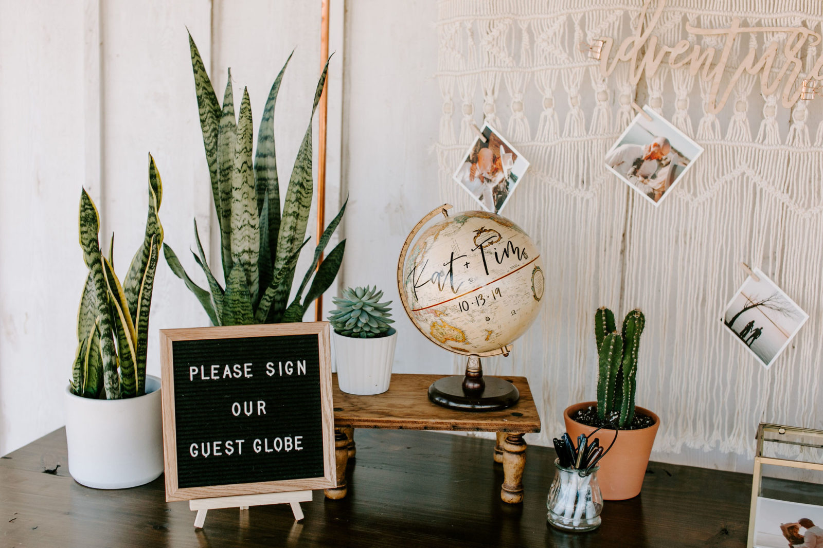 Wedding Guest Book Decor: Bohemian Big White Barn Wedding