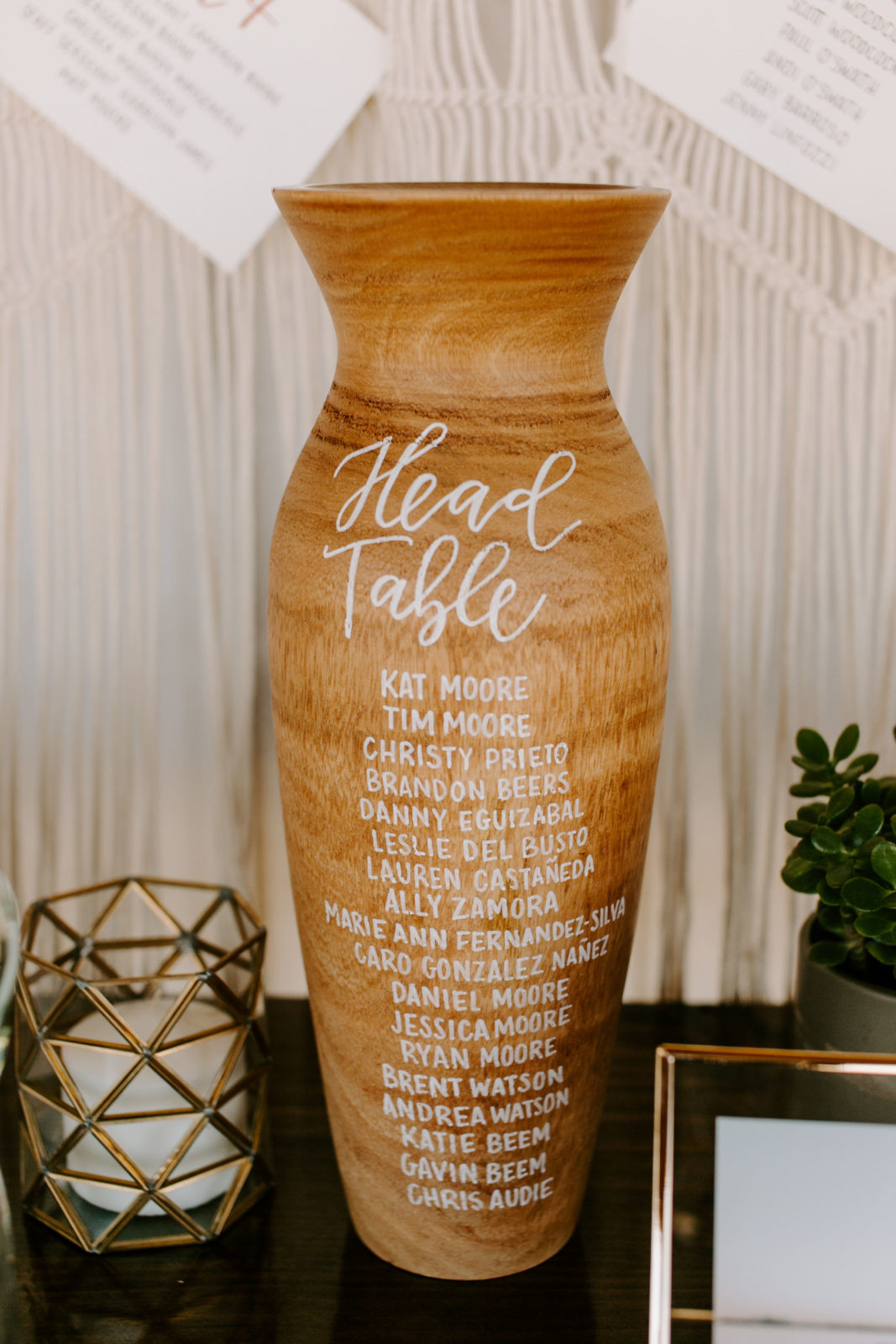 Wooden Wedding Table Number Display: Bohemian Big White Barn Wedding