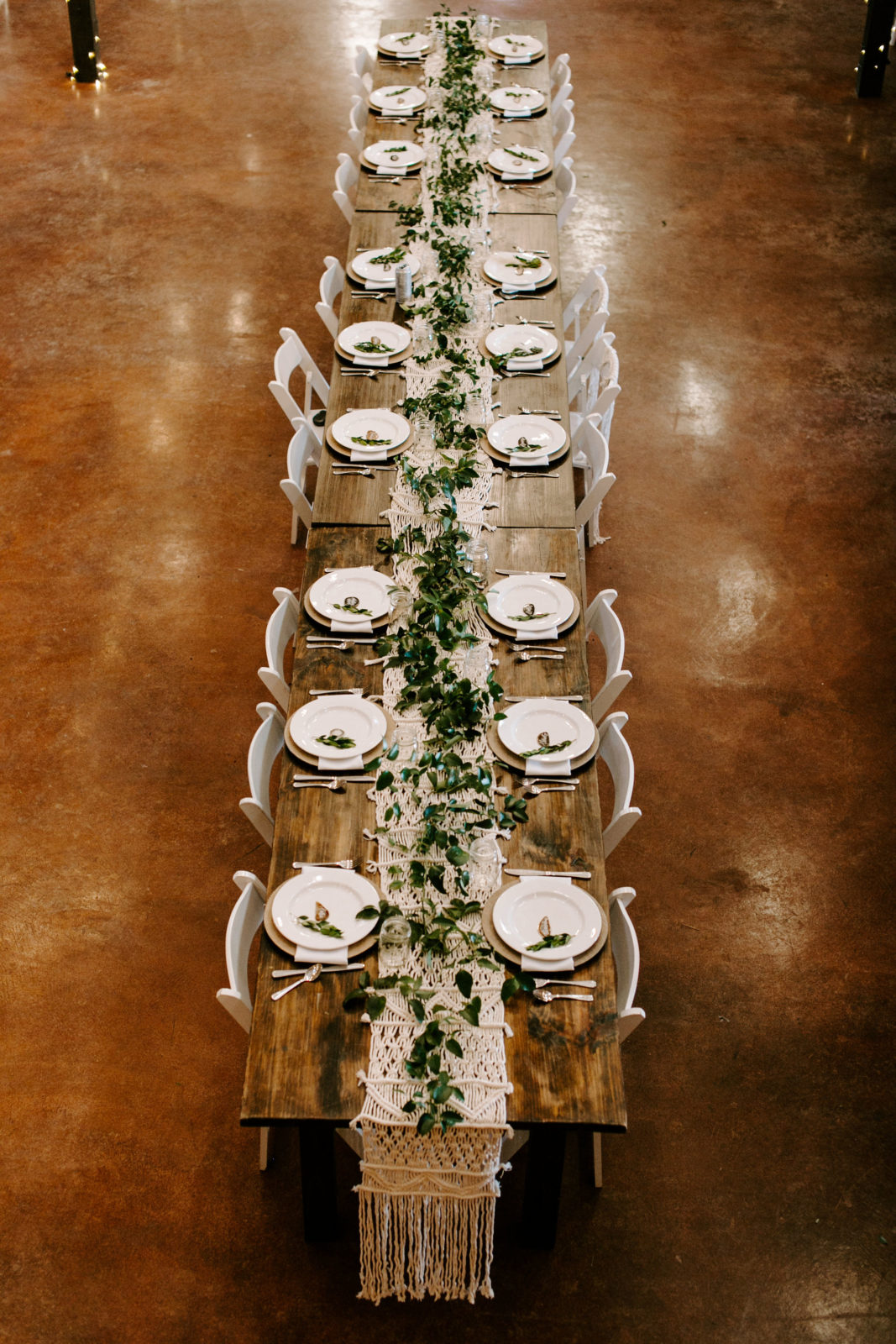 Boho Wedding Tablescape: Bohemian Big White Barn Wedding