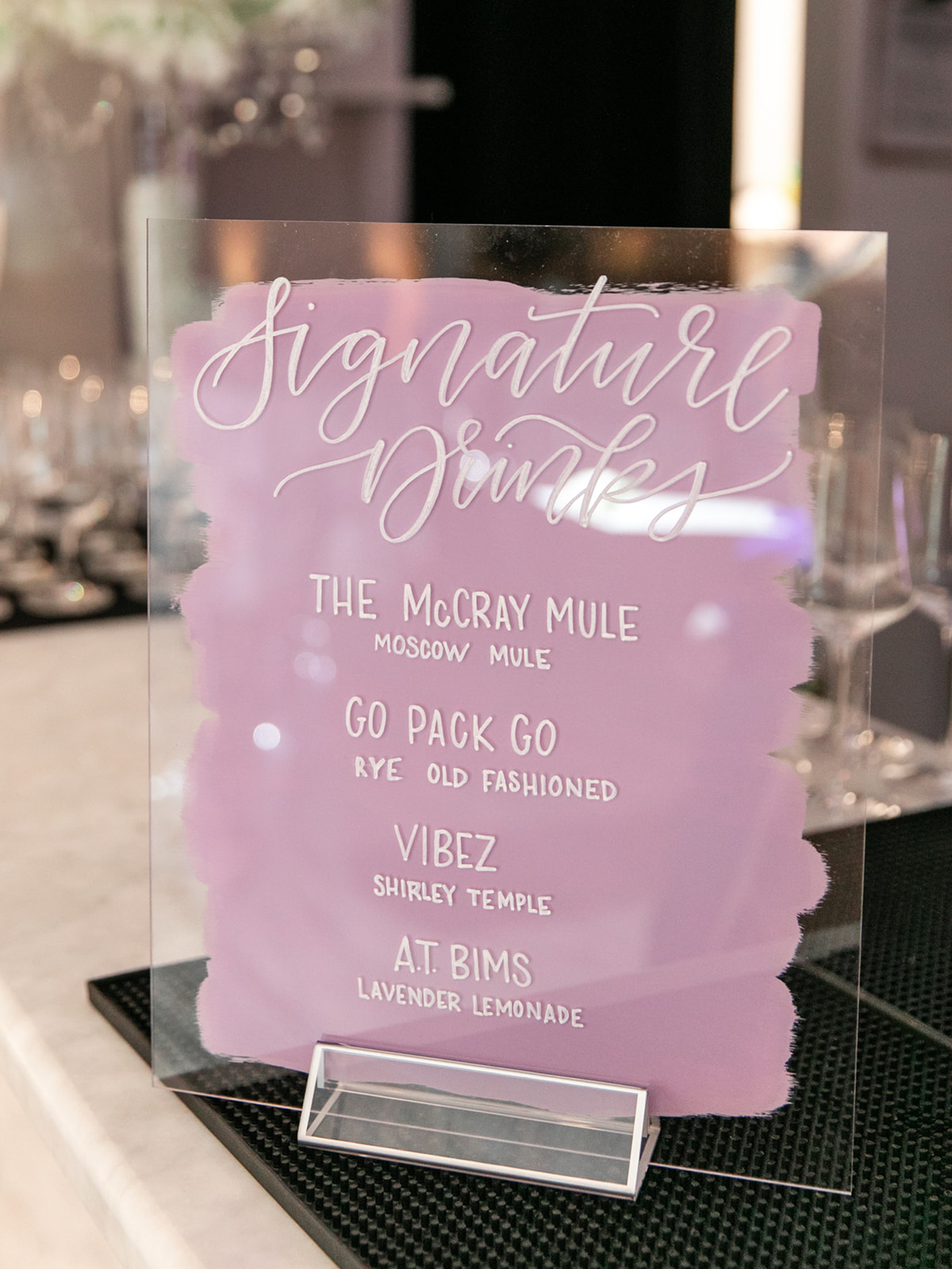 Pink and White Acrylic Wedding Sign: Luxurious Knotting Hill Place Wedding