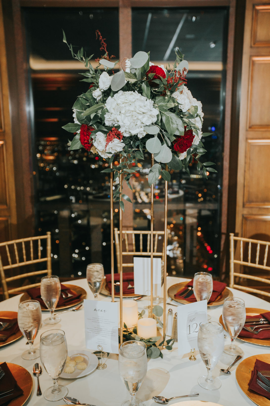 Red and white wedding centerpieces: Exquisite City Place Events Wedding featured on Alexa Kay Events