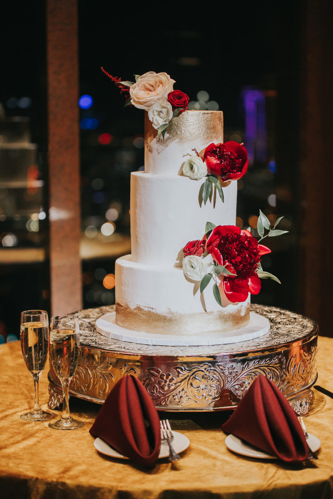 White and Red Floral Wedding Cake: Exquisite City Place Events Wedding featured on Alexa Kay Events