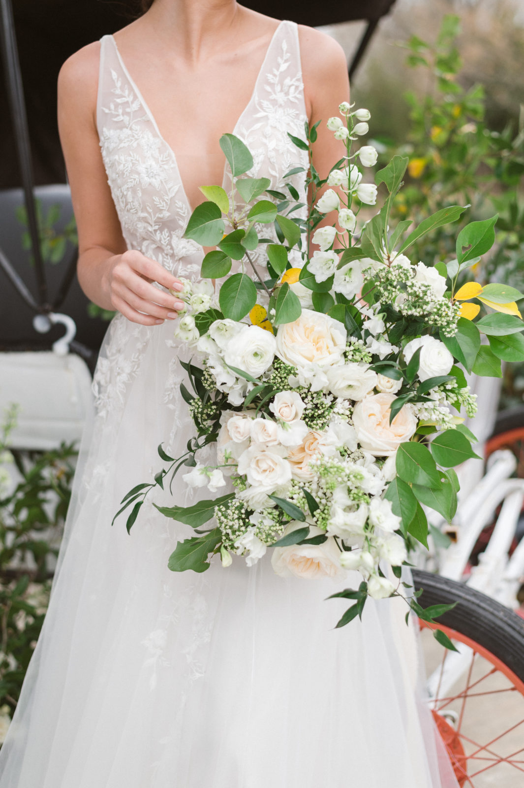 White and Greenery Fine Art Wedding Bouquet