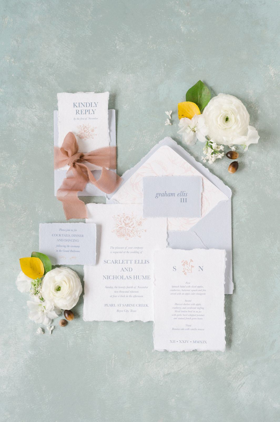 Neutral Wedding Invitation Design by Sincerely Addison