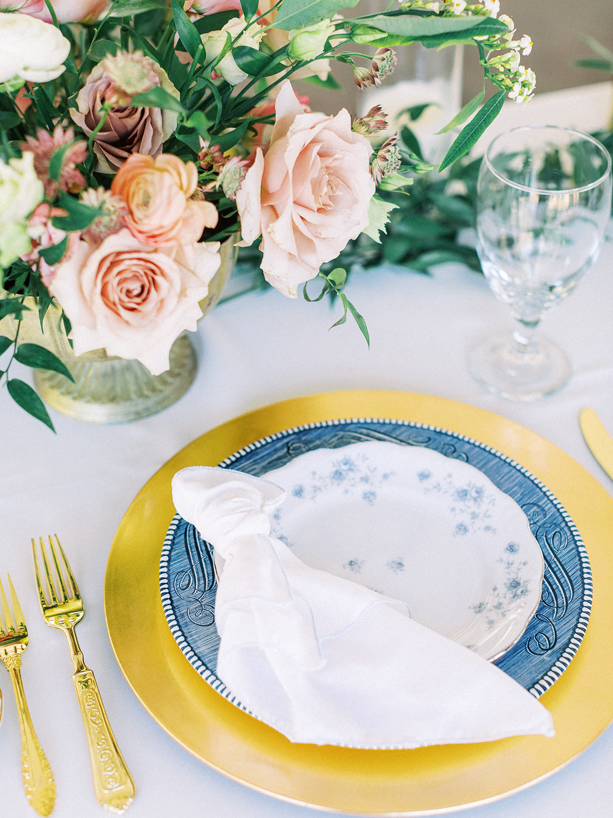 Vintage China Wedding Place Setting: Feminine and Whimsical Clark Gardens Wedding