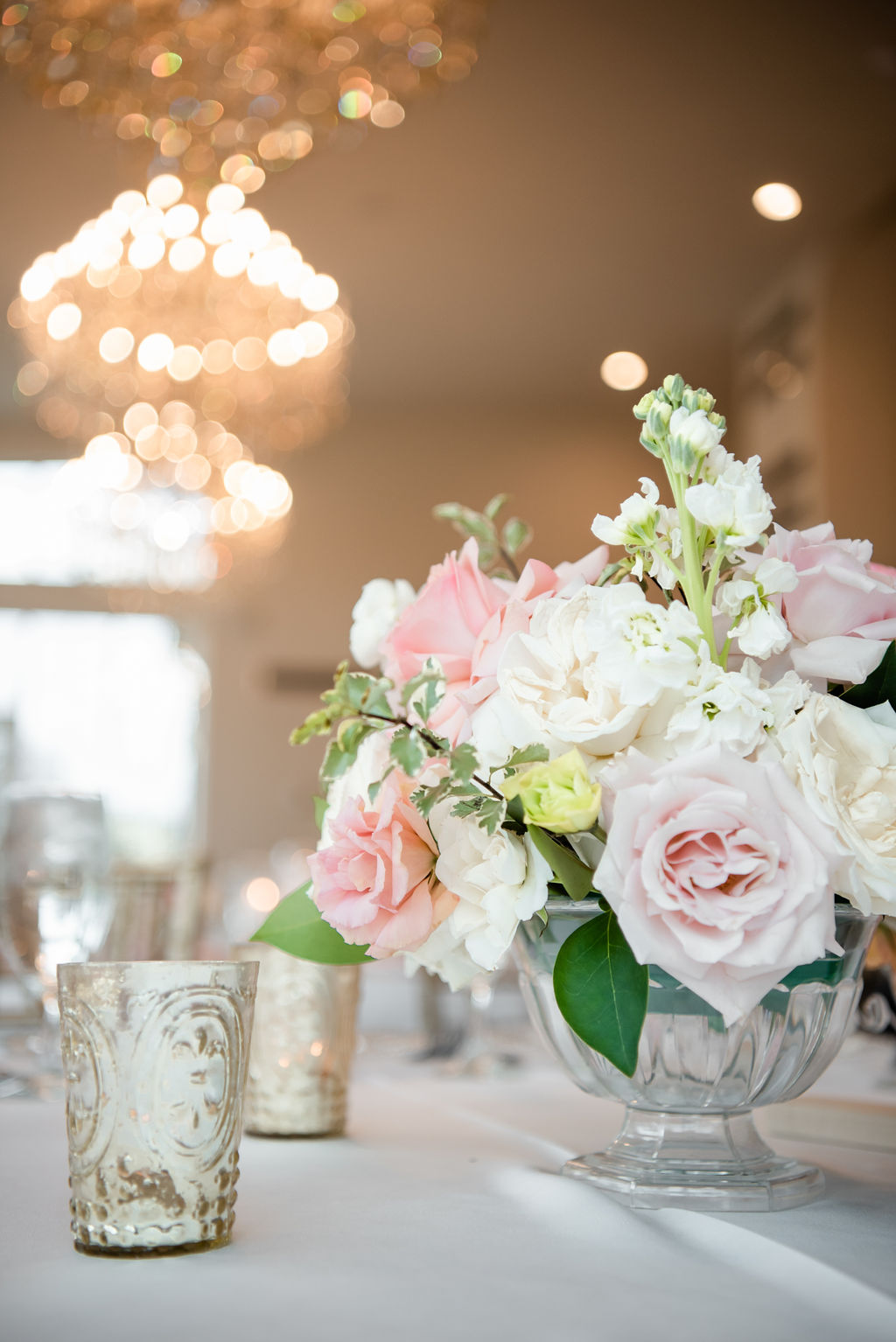 Pink and white wedding centerpieces: Dreamy Pink and Gray Wedding at The Olana