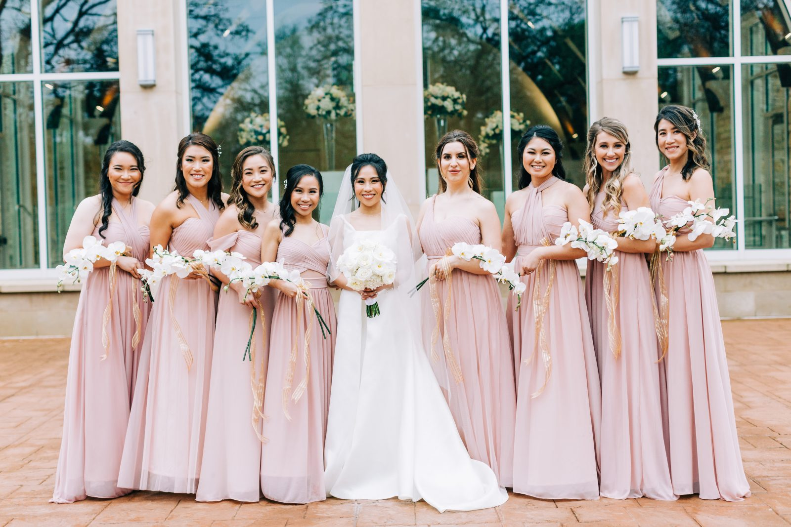 Blush pink birdy grey bridesmaids dresses: Blush Pink Texas Wedding at The Bowden featured on Alexa Kay Events