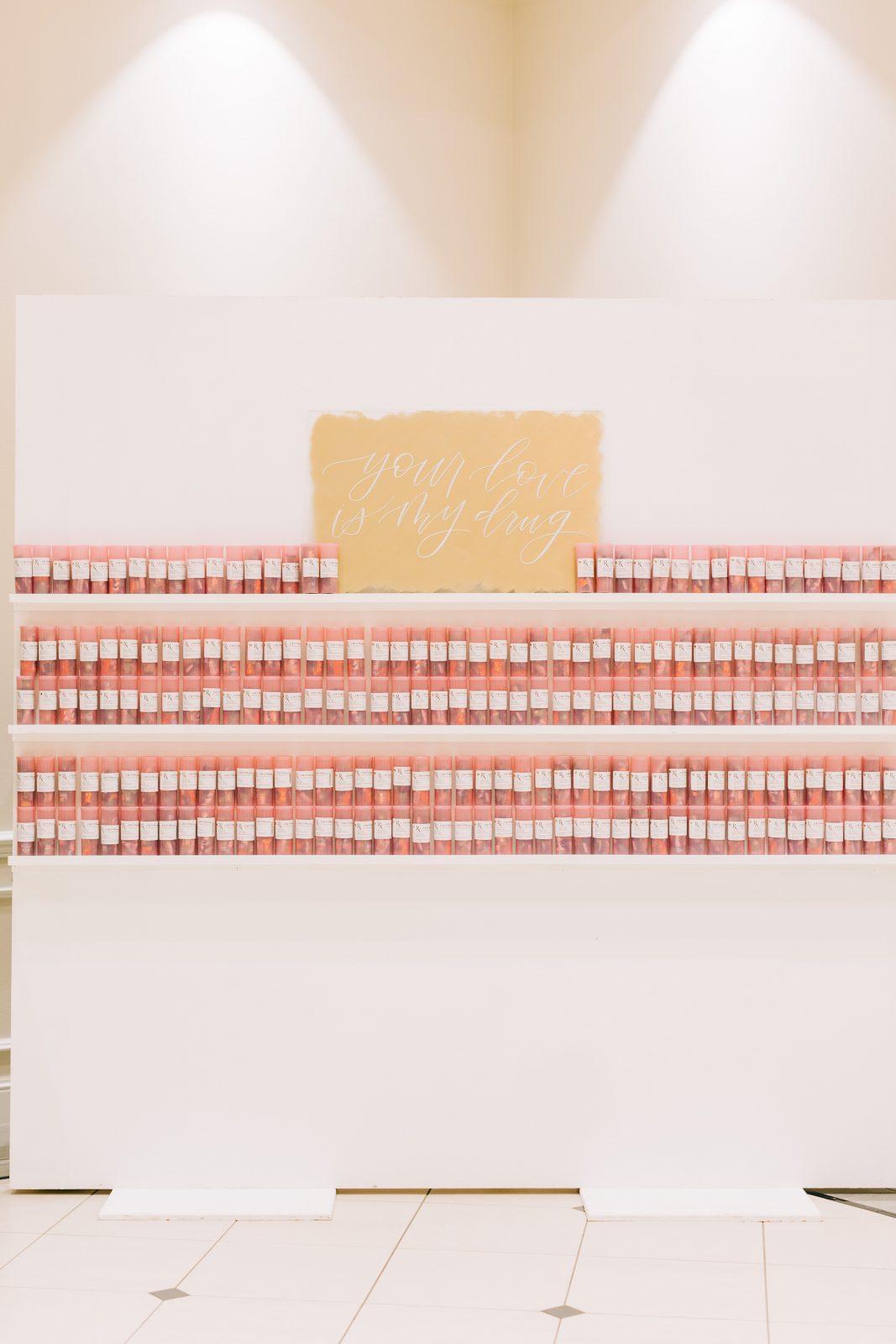 Creative wedding escort card display: Blush Pink Texas Wedding at The Bowden featured on Alexa Kay Events