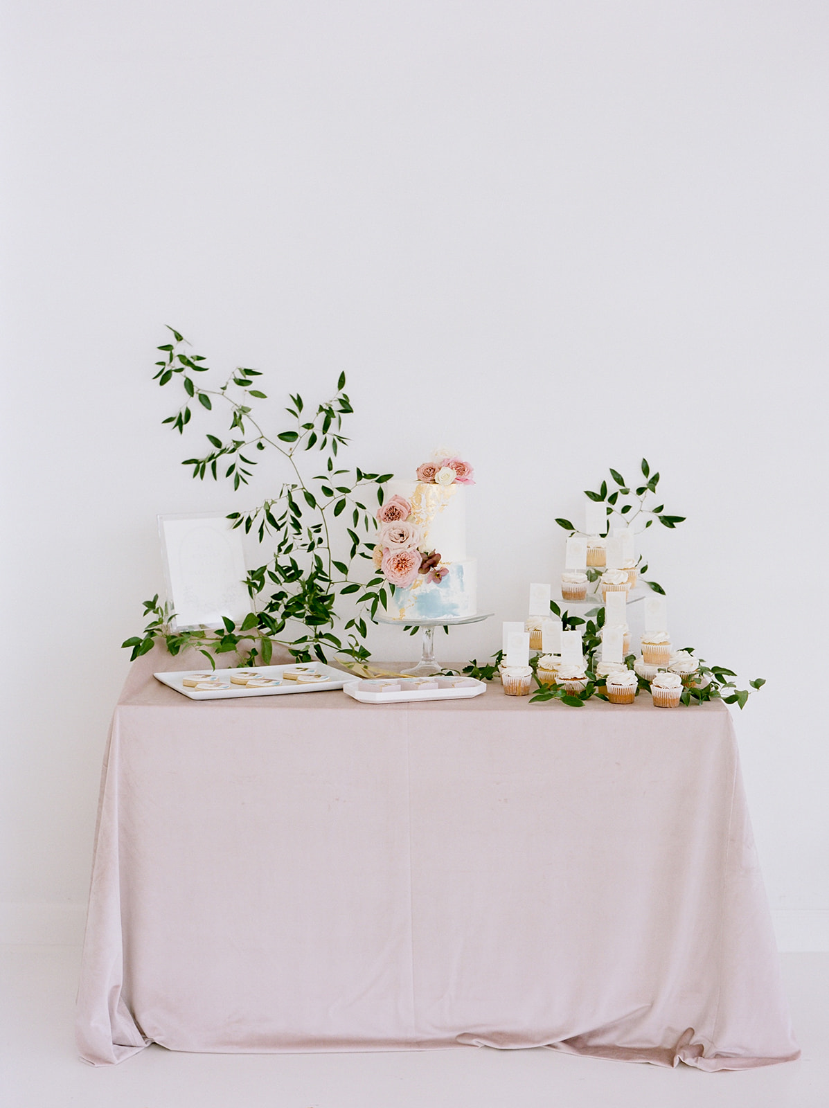 Wedding cake table display: Pink Floral Wedding Inspiration at The Lumen Room featured on Alexa Kay Events