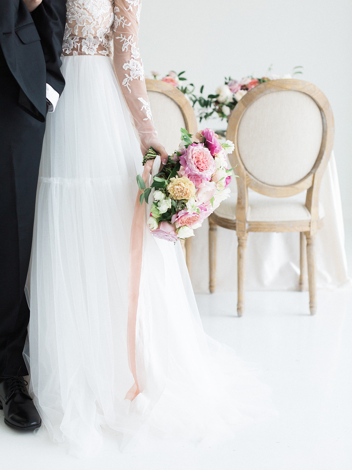 Soft pink wedding bouquet: Pink Floral Wedding Inspiration at The Lumen Room featured on Alexa Kay Events