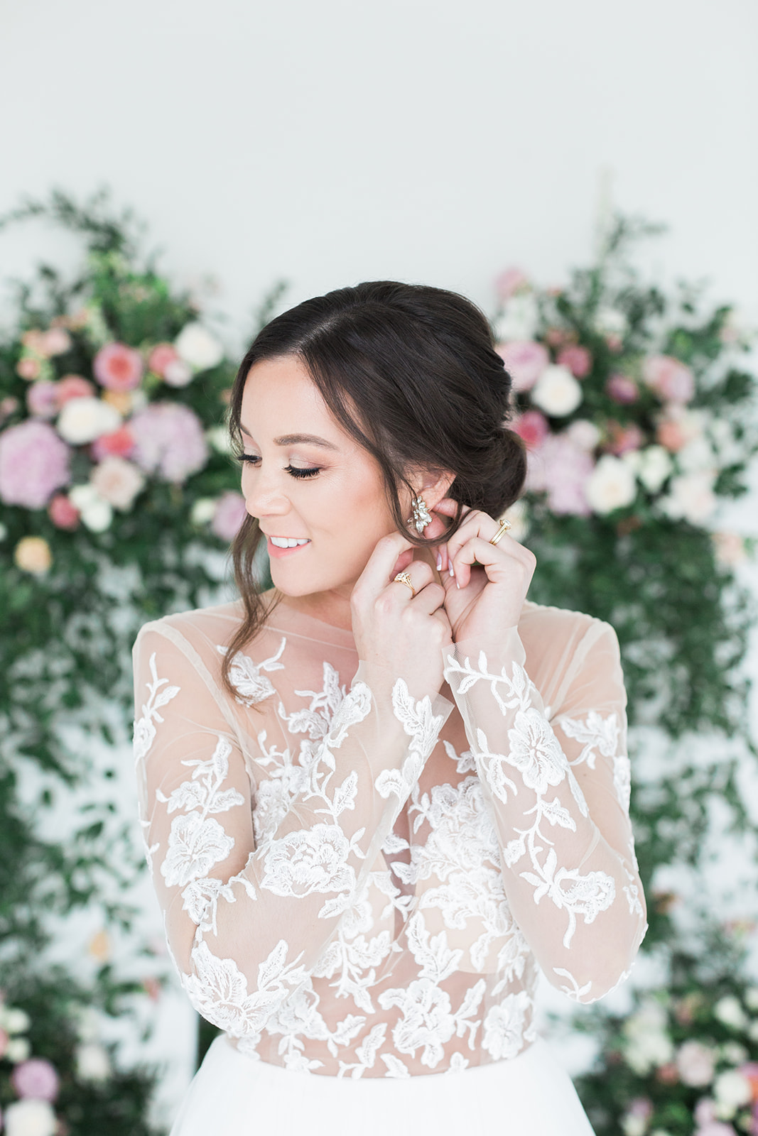 Lace illusion wedding dress sleeves: Pink Floral Wedding Inspiration at The Lumen Room featured on Alexa Kay Events