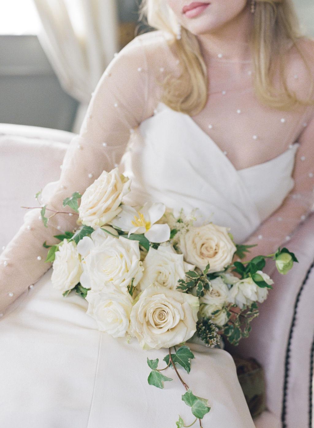 White wedding bouquet: Elegant Dallas Wedding Inspiration at The Mason featured on Alexa Kay Events