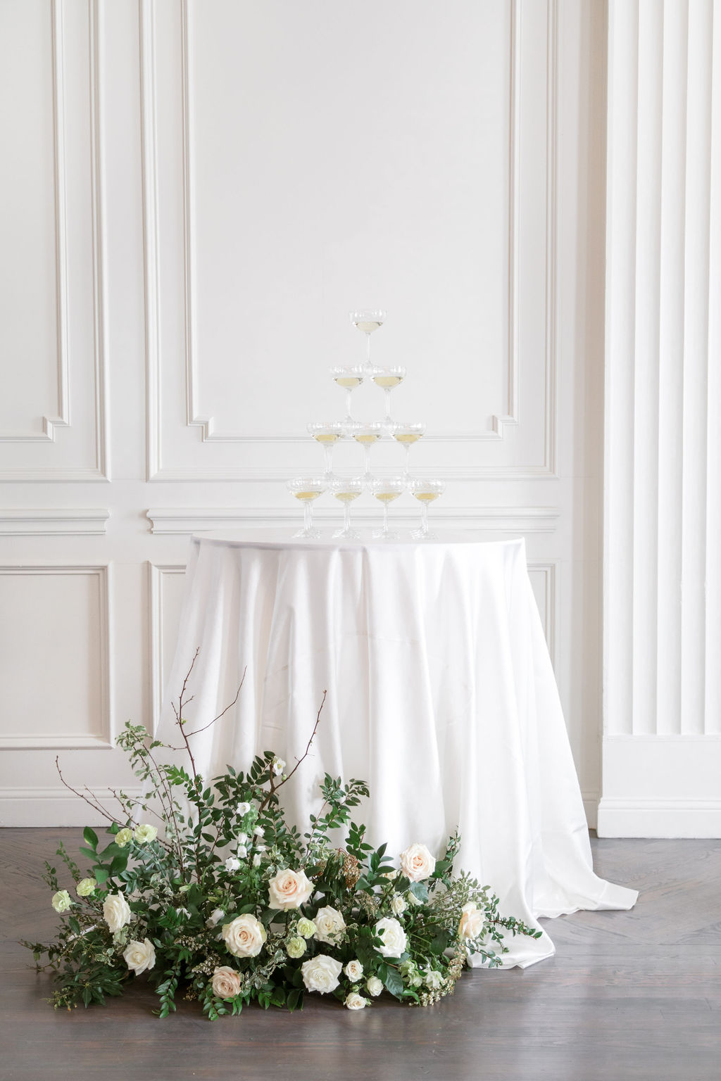 Wedding champagne display: Elegant Dallas Wedding Inspiration at The Mason featured on Alexa Kay Events