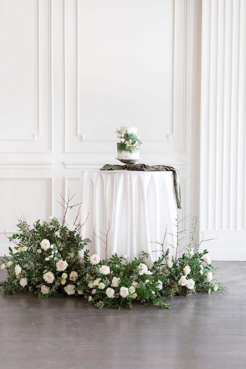 Wedding cake display: Elegant Dallas Wedding Inspiration at The Mason featured on Alexa Kay Events
