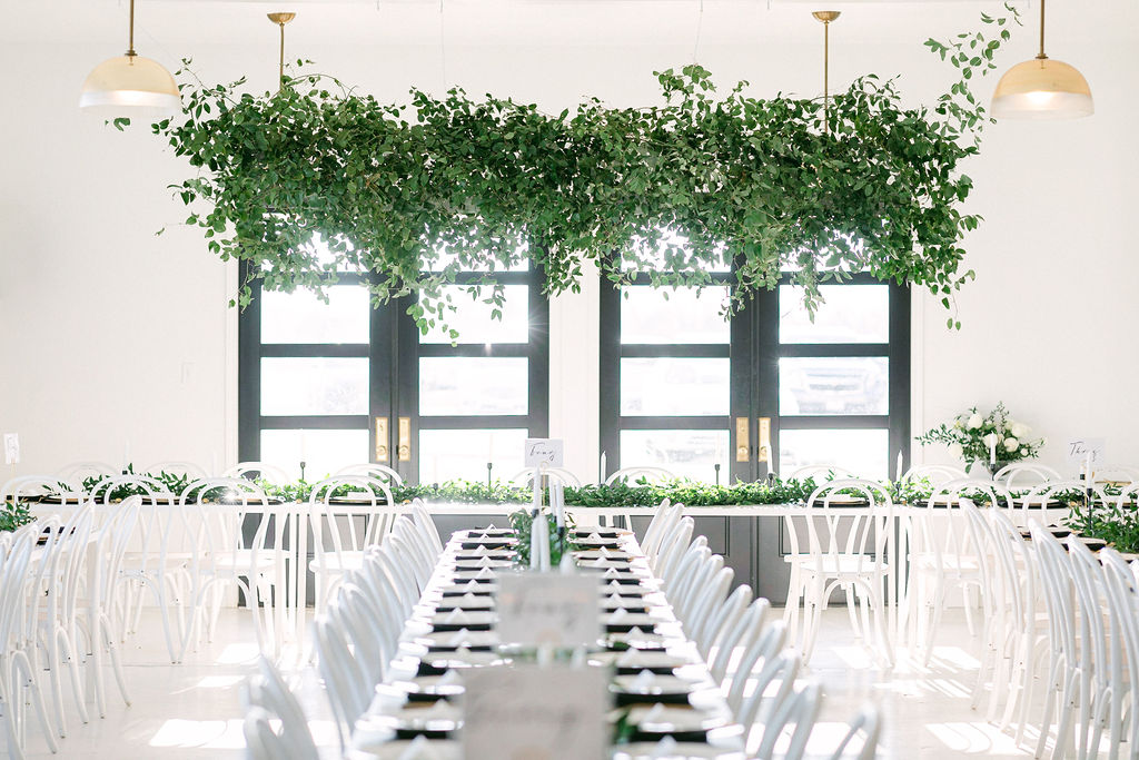 Modern wedding reception decor: White and Greenery Wedding at The Emerson by Alexa Kay Events
