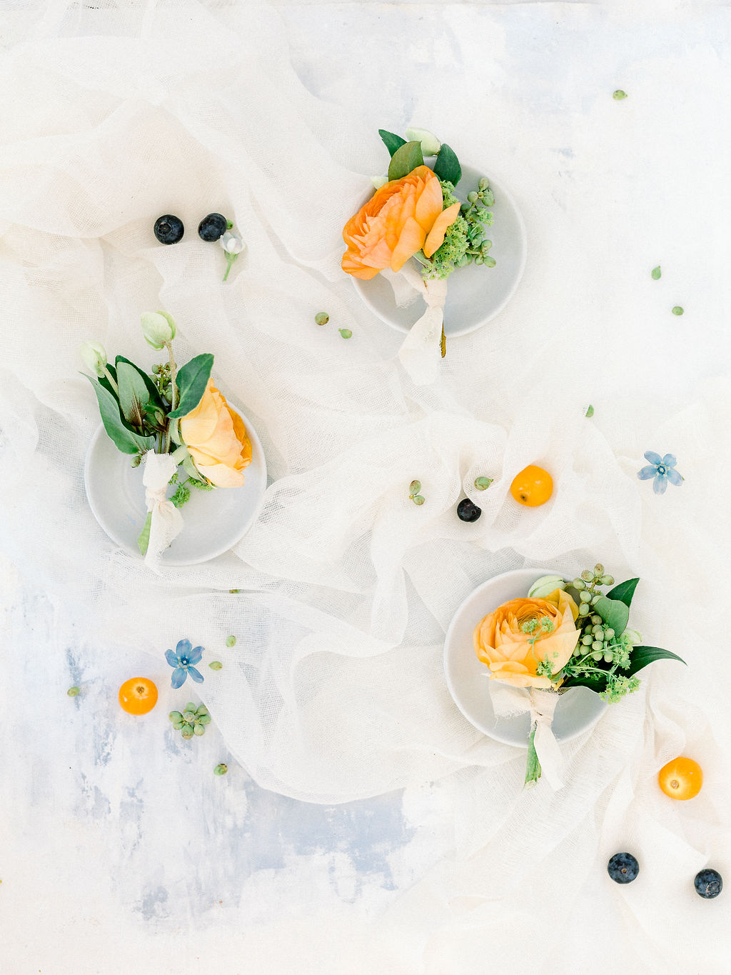 Orange boutonniere: Ethereal Wedding Inspiration at The White Sparrow
