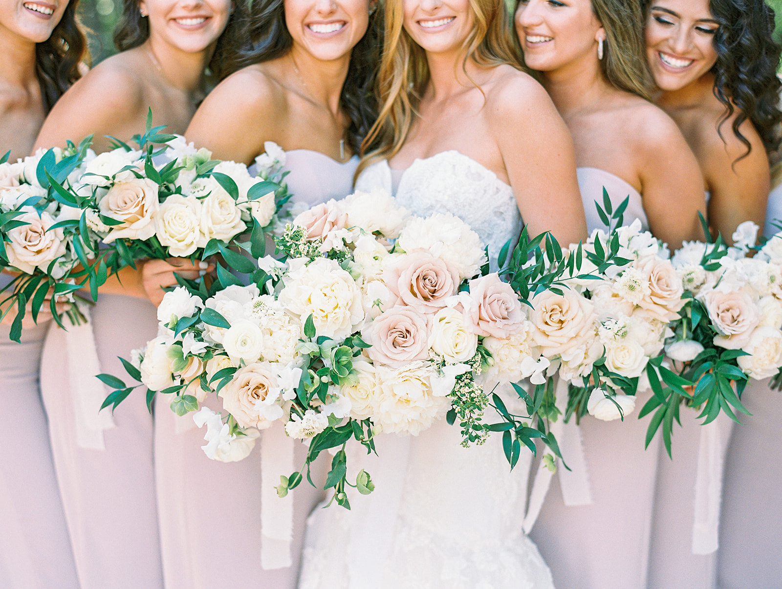 White and blush pink wedding bouquets