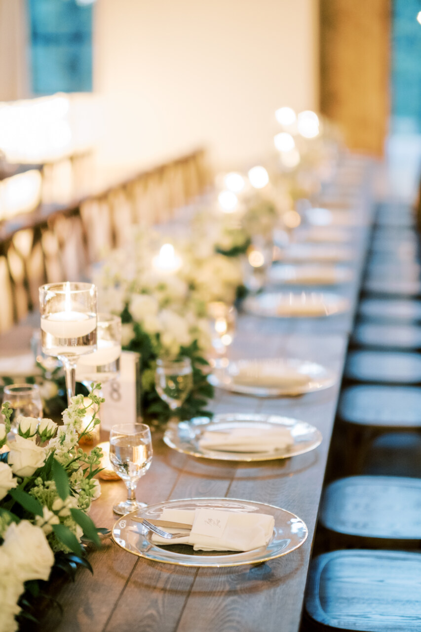 Greenery and white wedding table decor | Alexa Kay Events