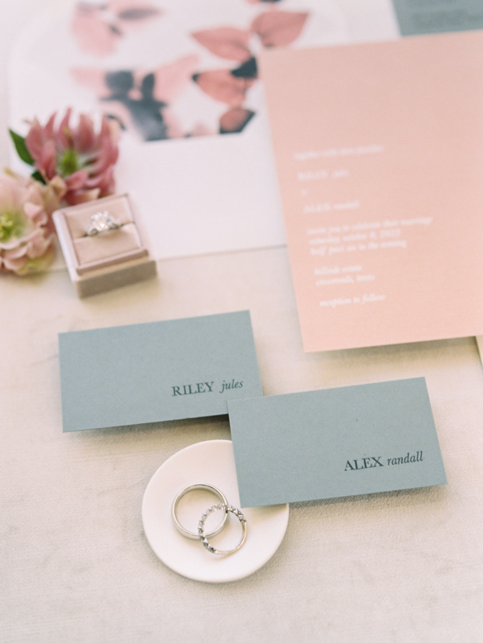 Blush and blue wedding stationery by Lyons Paperie
