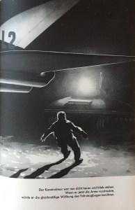 """""""Der Konstrukteur war nun dicht heran und blieb stehen. Wenn er jetzt die Arme vorstreckte, würde er die gleichmäíge Wölbung des Fahrzeugbuges berühren."""" - """"Das Geheimnis des Transpluto"""", Lothar Weise, Illustration: Eberhard Binder"""