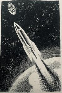 """""""Eine Zubringer-Rakete startet zur Raumstation"""" - """"Erde ohne Nacht"""" von H.L. Fahlberg, Illustration: Karl-Heinz Birkner"""