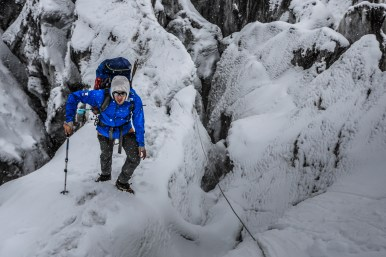 Climbing through crevasses to C1 (photo - Marcin Kin)