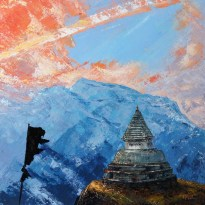 «Sunrise. Inner Tibet series», acrylic on canvas, palette knife, 80 x 80 cm, 北京 2016