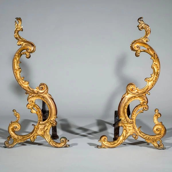 Pair of 18th-Century English Rococo Gilt Bronze Andirons or Firedogs