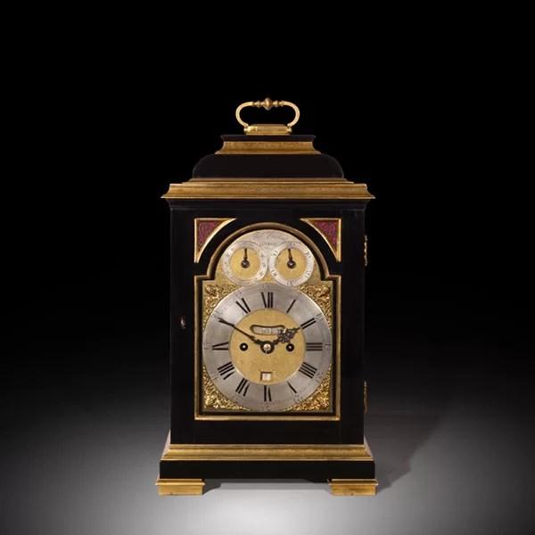 George III Ebony Veneered Bracket Clock with Pull Quarter Repeat on Six Bells, Thomas Hughes, London