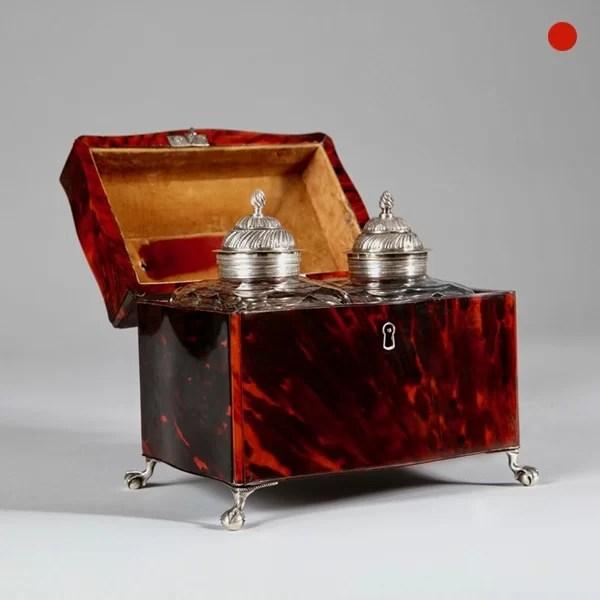 George III Red Tortoiseshell Tea Caddy