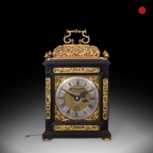 17th-Century Ebony Veneered Table Clock with Alarm and Pull Quarter Repeat