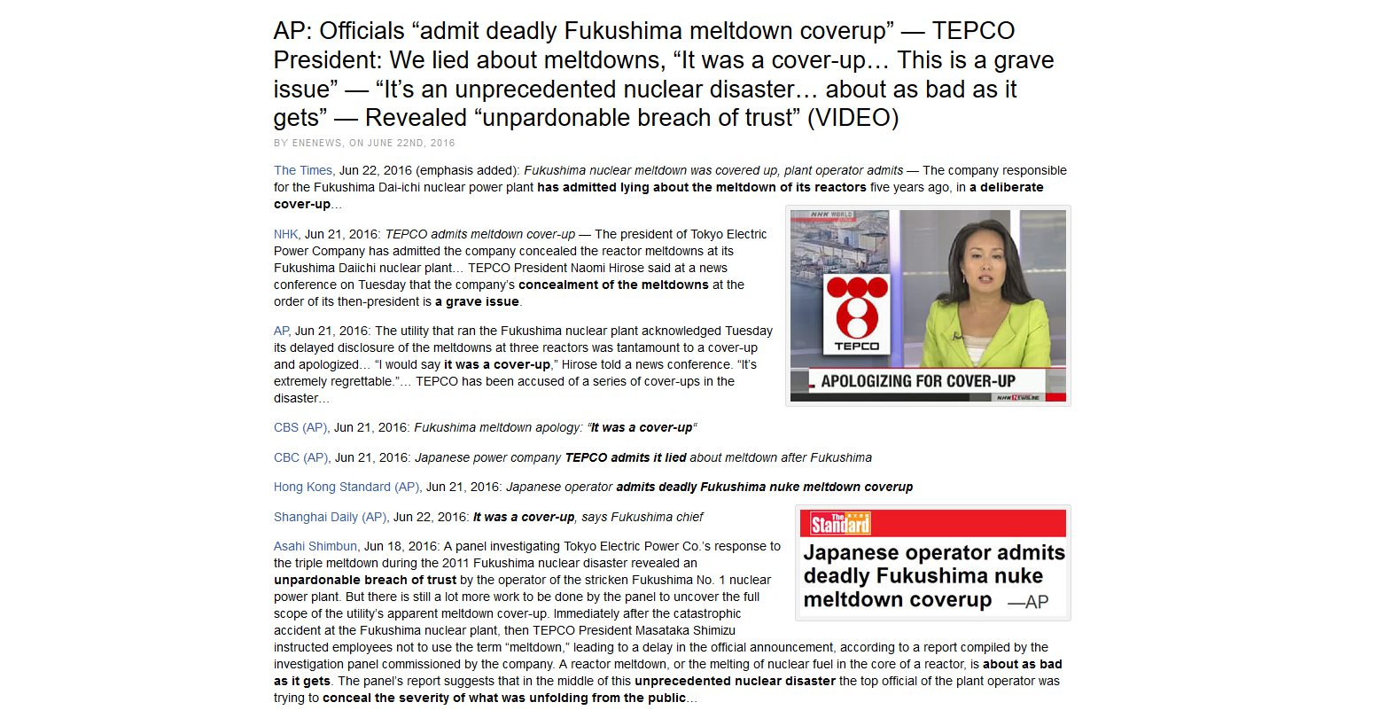 Corporate Media Called Claims of Fukushima Coverup Fake News For Over 5 Years.