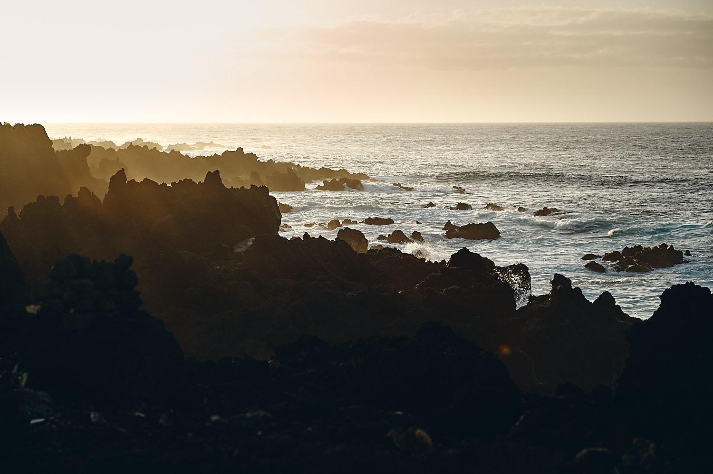 sunset over rocks, Azores Terceira