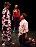 "Anastasia Olowin, Caitlin Bebb, and Peter Burke in ""Fat Fat Fatty"" photo by Hunter Channing"