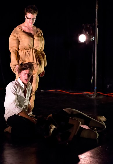 "Peter Burke, Nick Fesette, and Anastasia Olowin in ""Fat Fat Fatty""photo by Hunter Channing"