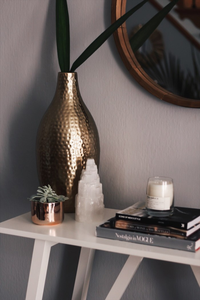 succulent on console table