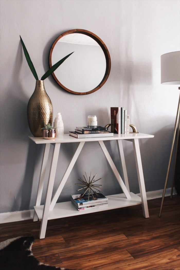 console table and decor