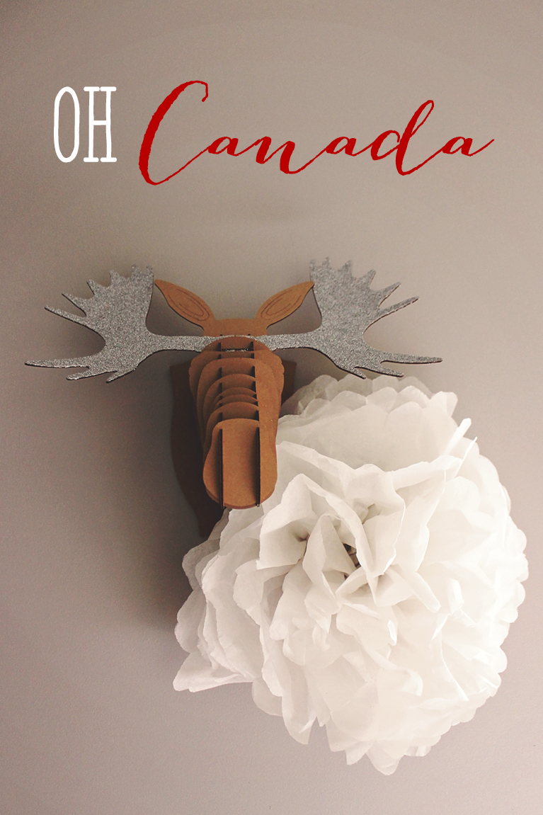 Cardboard Moose Taxidermy with homemade white tissue paper flower | Alex Inspired - Canada Day