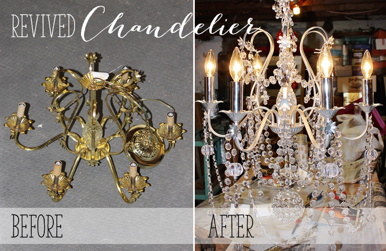 Revived Chandelier | Alex Inspired – Old brass chandelier is given new life with spray paint, Christmas crystal, new wiring and extra bling.