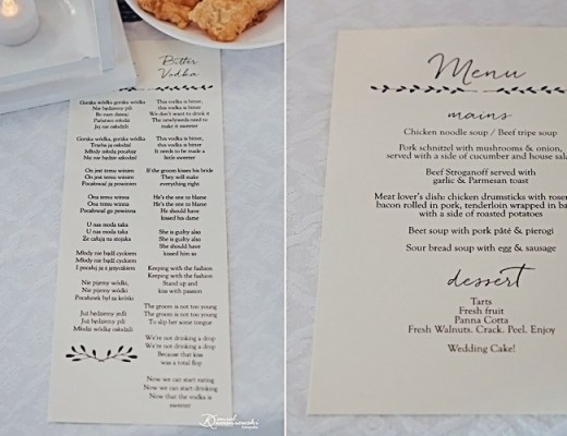 Paulina & Jordan | Custom Wedding Menu