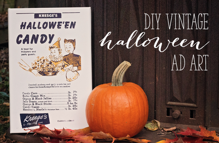 DIY Vintage Halloween Ad Art | Easy to create canvases for authentic and fun Halloween Decor | Alex Inspired