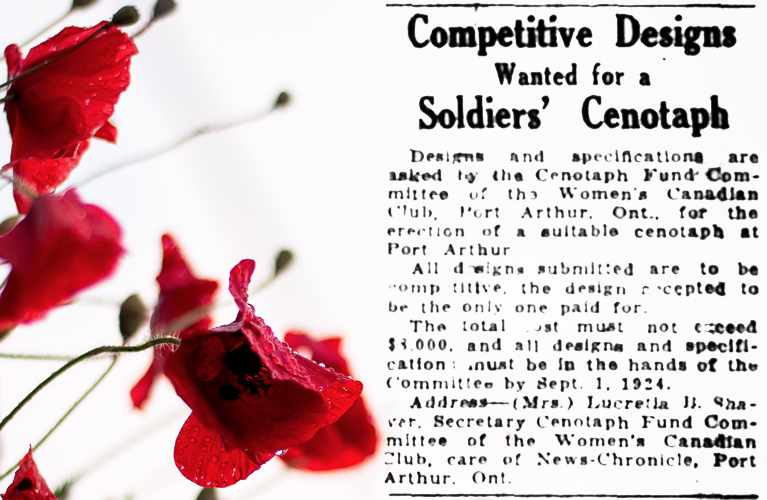 The Ottawa Journal ad for a Cenotaph Design from the Women's Canadian Club of Port Arthur | Alex Inspired