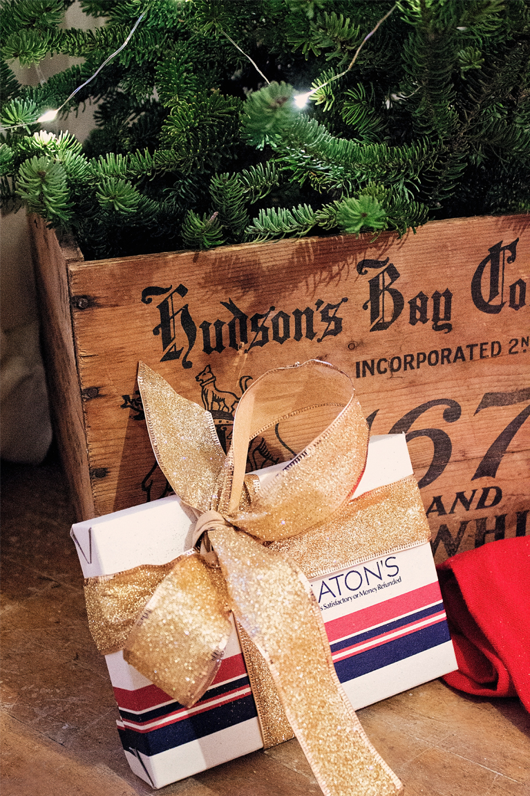 Hudson's Bay Crate with Tree, and Eaton's Christmas Boxes below | Alex Inspired